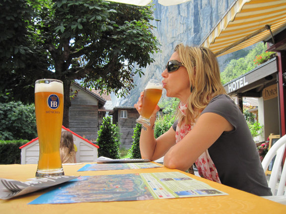 Looking  hot while hydrating in Lauterbrunnen