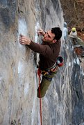Rock Climbing Photo: Elliot Gaunt pulling into and through the crux of ...