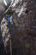 Rock Climbing Photo: Eddie at the start of Deep Dish, a stiff 5.6 for t...