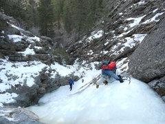 Rock Climbing Photo: RM climbing as Jim awaits his turn