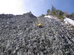 Rock Climbing Photo: 12-March-2012: Steve Larson leading Mousetrap.