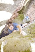 Rock Climbing Photo: Heel popping right at the end GRRRR!!!