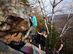 Rock Climbing Photo: Steve switching to press it up.