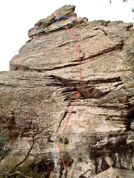 "Rock Climbing Photo: Green circle: the route's namesake ""monkey ha..."