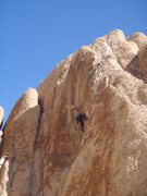 """Rock Climbing Photo: Aaron Lawrence leading """"the Goat"""""""