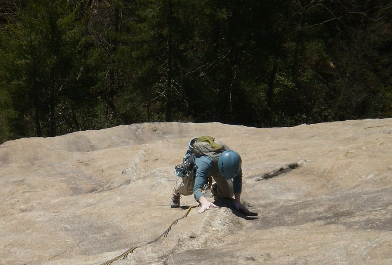 Rock Climbing Photo: Mary riding the snaking dike on the 3rd pitch.