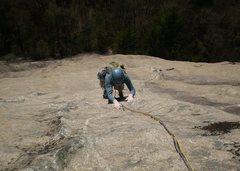 Rock Climbing Photo: Mary smearing her way through P3's crux.