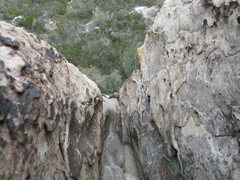 Rock Climbing Photo: dirty son of cinch topping out P1