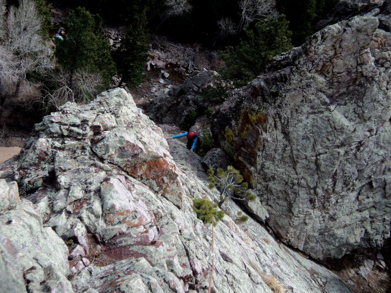 Rock Climbing Photo: Deb emerges into the sun and onto solid rock from ...