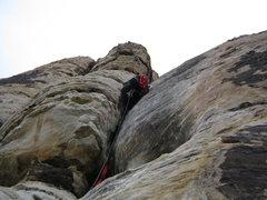 Rock Climbing Photo: dirty son of cinch, leading!
