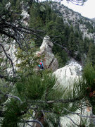 Rock Climbing Photo: Deb ascends a small gendarme on P4.