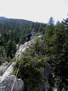 Rock Climbing Photo: Deb near the top, on the last gendarme. It was ~11...