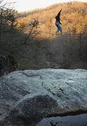 Rock Climbing Photo: FA of  Hebron Rock Colony Line Slack Liner: Mike H...