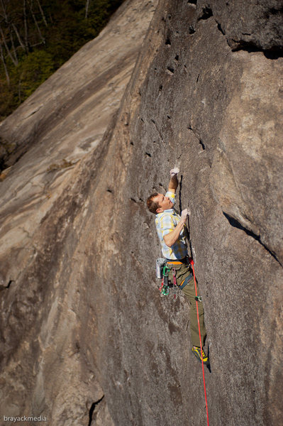 Rock Climbing Photo: Eric Singleton stabbing into the crux