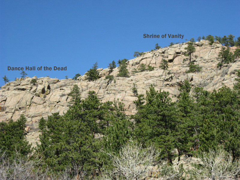 Overview of Dance Hall of the Dead and Shrine of Vanity, as seen from slightly up-canyon.