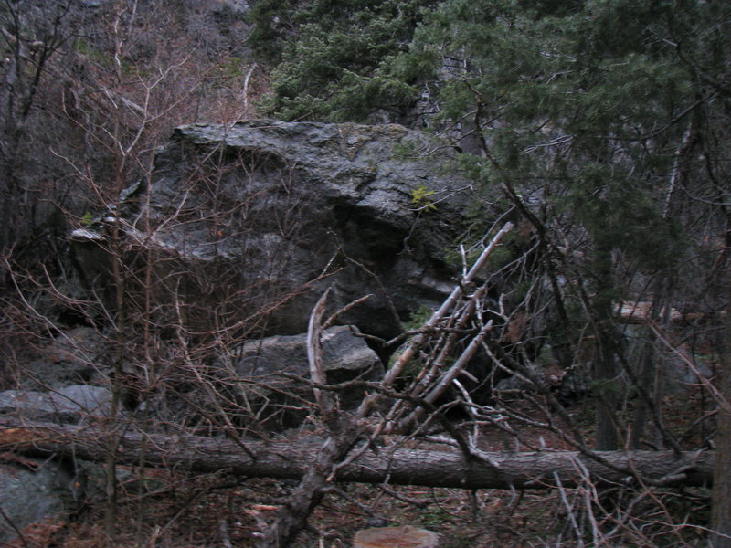 tank boulder as seen from the the trail near the edge of the road