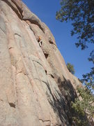 Rock Climbing Photo: Ross past the crux of Ragger Bagger.
