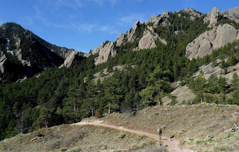 View of the Central Flatirons from NCAR trail.