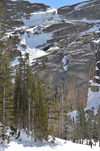 Black lake slabs on 3-17-12. Lower part of route not visible off to the left.