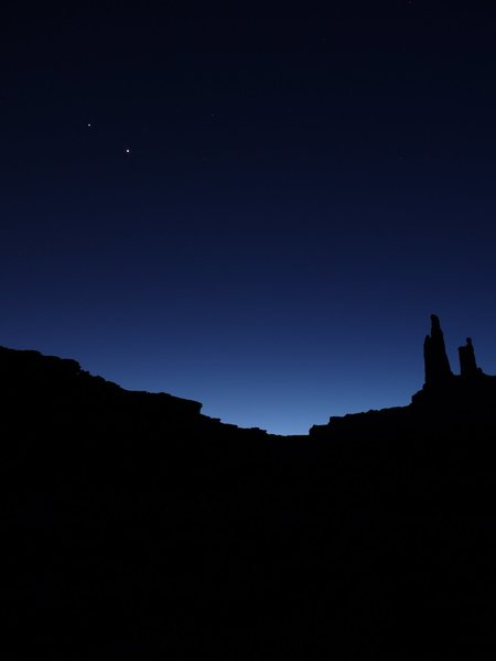 Washer Woman, Monster Tower, Venus and Jupiter as seen from the White Rim Road.  March 2012