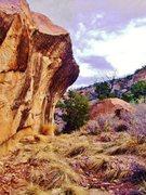 Rock Climbing Photo: Stronger Than Water Boulder east face overhang.