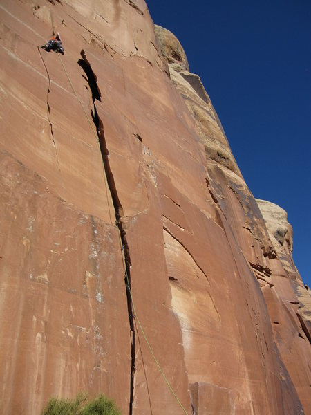 Rock Climbing Photo: Very glad to be placing the first piece of protect...