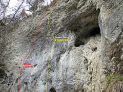 Rock Climbing Photo: These two routes are found just to the left of the...