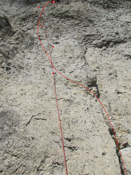 Ronald McDonald wanders a bit more than the run of the rope lets on, so I drew the line of the climb as well.