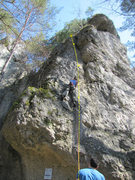 Rock Climbing Photo: Barney belaying Fanny on Beerenweg.