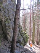 Rock Climbing Photo: Climber looking at the start of Beerenweg. The rou...