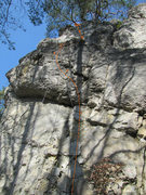 Rock Climbing Photo: The break in the topo is because there is a ledge ...