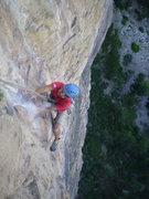 Rock Climbing Photo: Jordon Griffler on pitch 5 of Jeff Achey's fearsom...