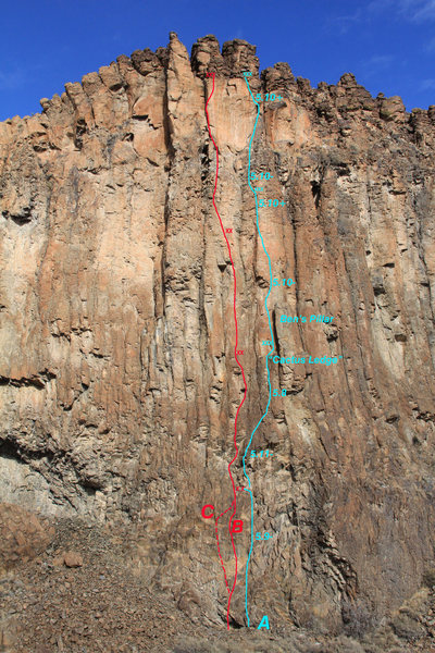 Rock Climbing Photo: SUNDEVIL WALL: A - Heat Seeker (5.11-) B - Origina...