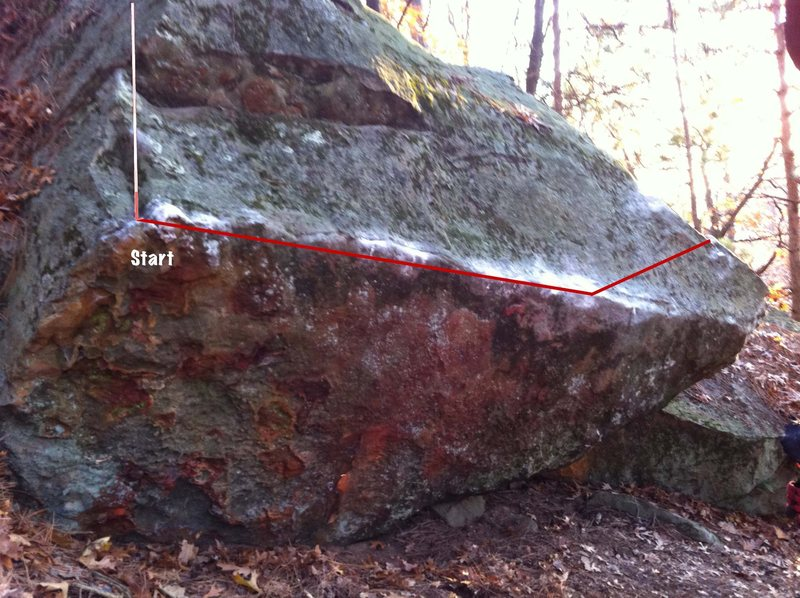 Rock Climbing Photo: follow red line from left to right