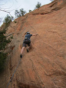 Rock Climbing Photo: Leading Pikes Peak (5.7) - Red Rocks Open Space CO...