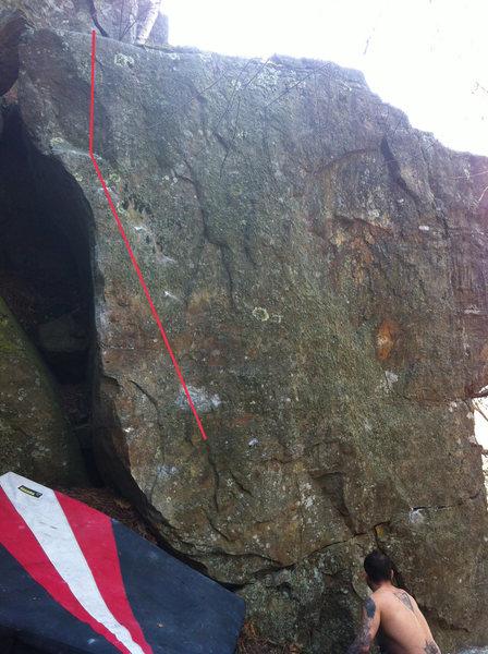 Rock Climbing Photo: follow red line