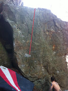 Rock Climbing Photo: Follow red line