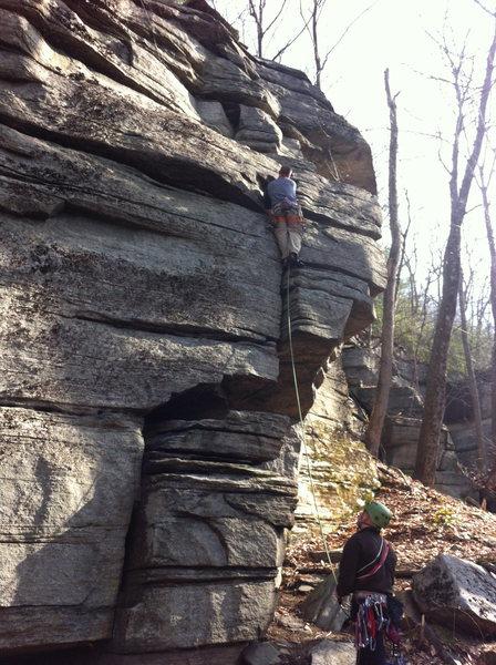 Rock Climbing Photo: JP crushing Greeting Crack.