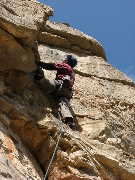 Larry getting the 2nd ascent on Sidestep Minnie