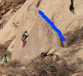 This shows guy on V0s described in Bishop guide book, Arete climbs are on the left of the photo, Hip Hop Hager is shown in blue