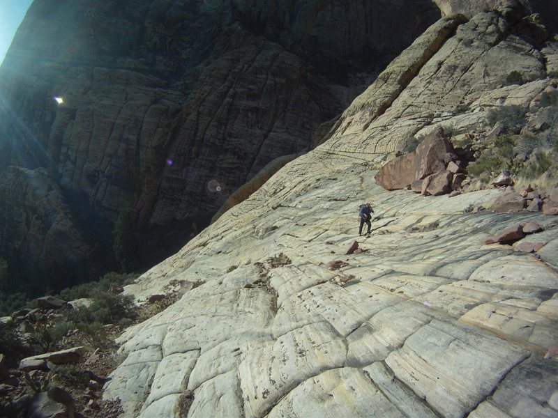 Rock Climbing Photo: The Approach Slabs.  Photo by Tim Baer