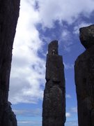 Rock Climbing Photo: Kate on the summit ledge of the Totem Pole after m...