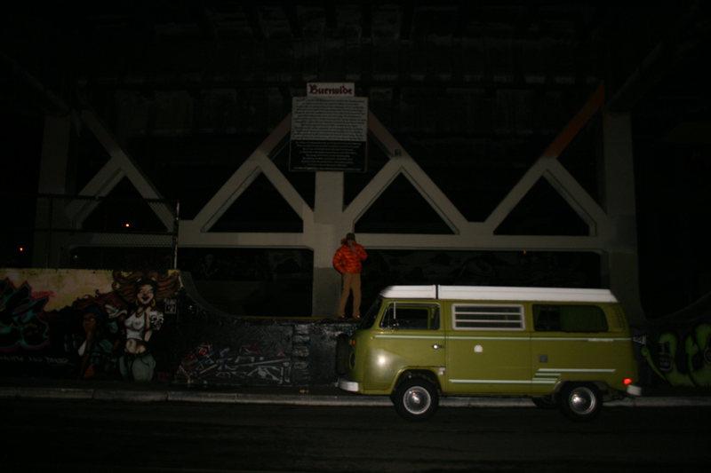 Late night stop @ Burnside Skate Park<br> <br> <br> -Hank the Climbing Bus-