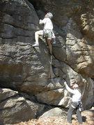 Rock Climbing Photo: Dave Custer leading Diagonal, belayed by John.
