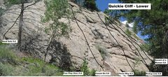 Rock Climbing Photo: The lower Quickie Cliff topo.  Photo: courtesy of ...