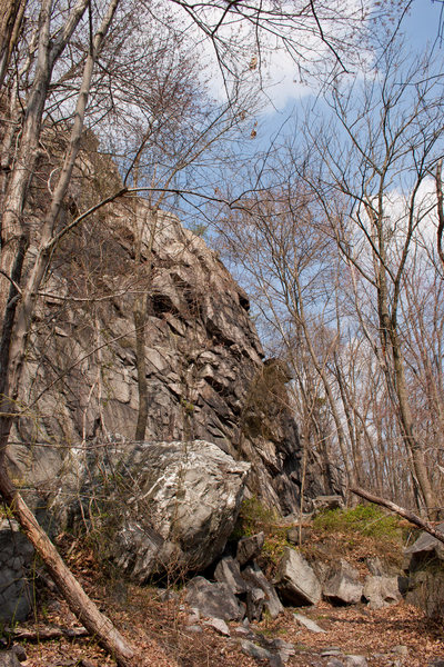 View of the crag from down-trail.