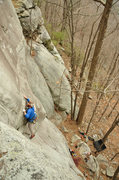 Rock Climbing Photo: Moving out onto the face above the crack start. Ph...