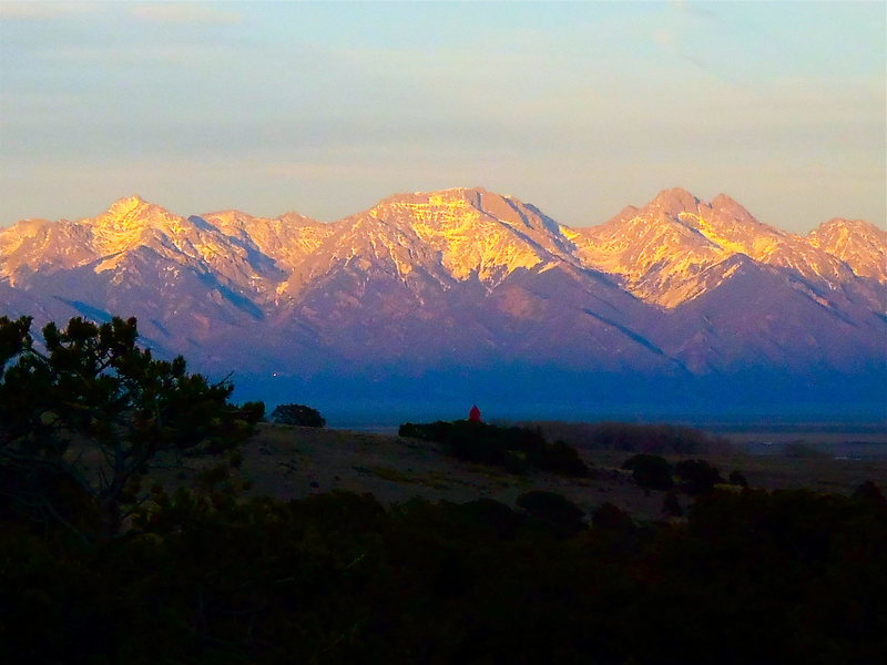 Rock Climbing Photo: Sangres at sunset as viewed from Penitente Canyon....