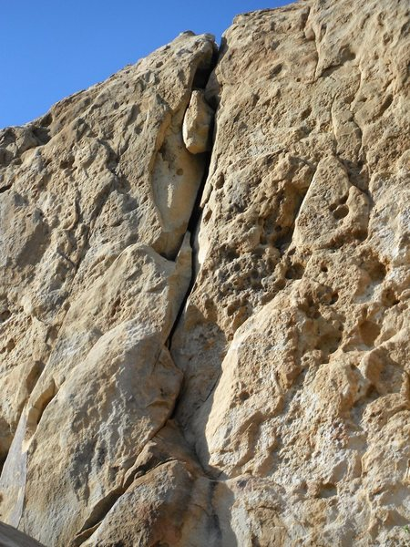 Rock Climbing Photo: View of the crack looking up from below. The large...