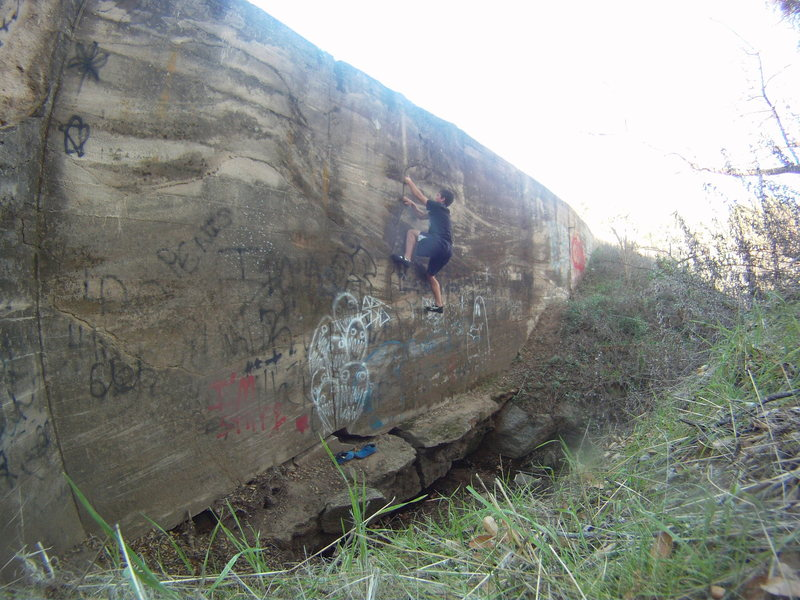 climbing on an old dam
